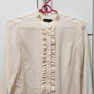 J. Crew Ruffle Button Down Blouse, Size 2